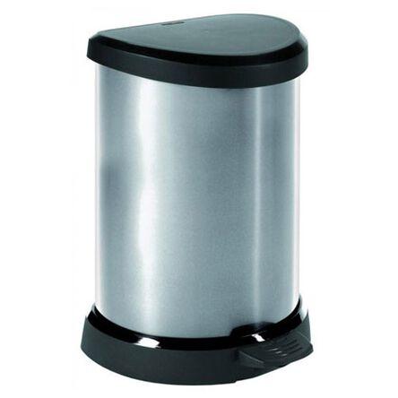 Kosz Na śmieci 20 Litrów Curver Plastik Srebrno Czarny Metalizowany