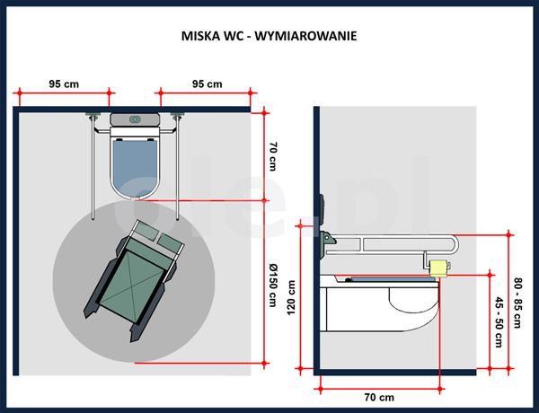 Miska WC - wymiarowanie w łazience dla niepełnosprawnych